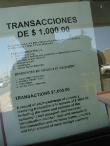 Mexican exchange rules in Calexico